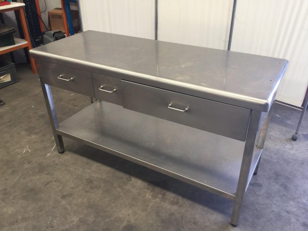 Mesa de inox con cajones y utillaje de cocina de medidas 1 - Mesa de cocina con cajones ...