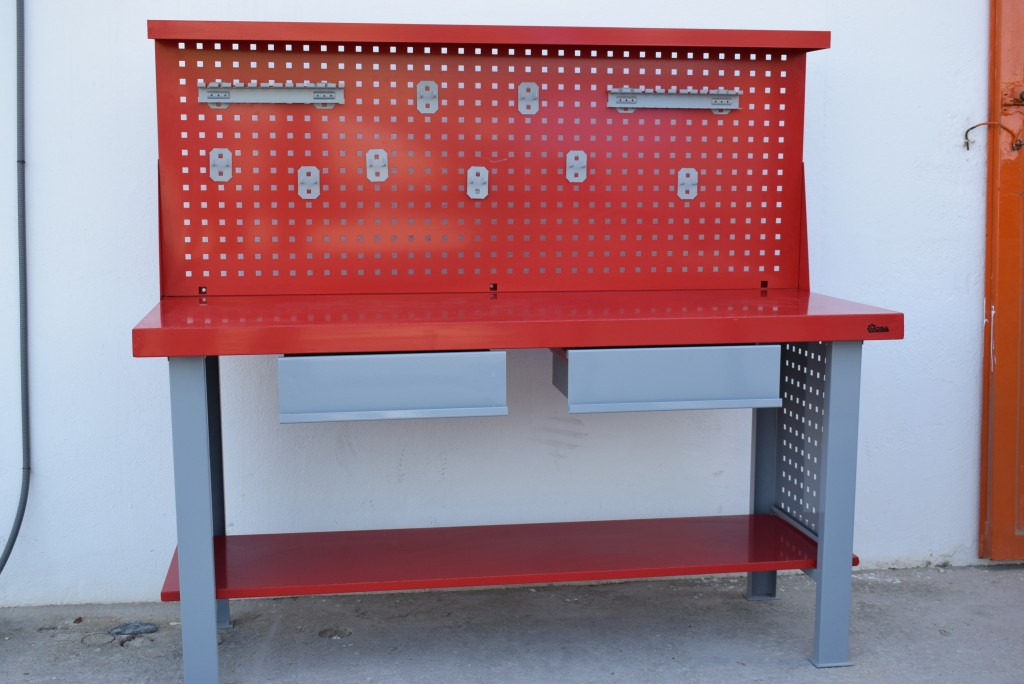 NUEVO Banco de trabajo carga media + cajones + panel portaherramientas frontal rojo