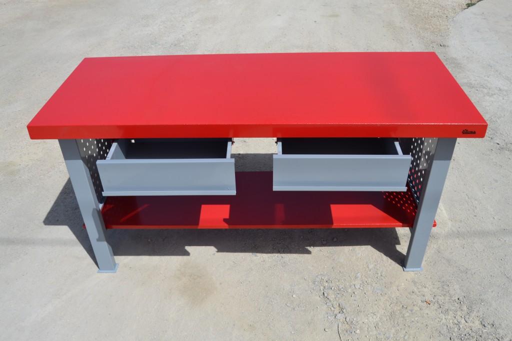 NUEVO Banco de trabajo carga media + cajones rojo