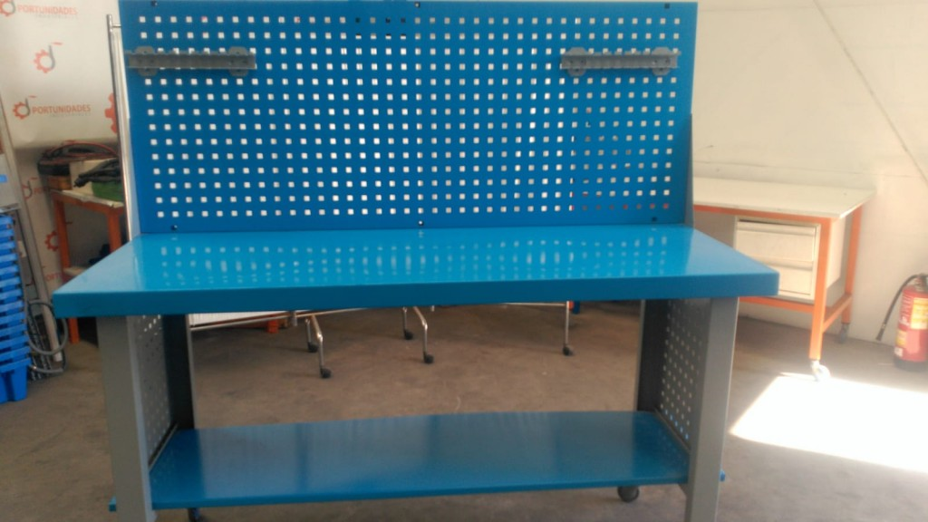 NUEVO Banco de Trabajo Metálico de Carga Alta + Panel Portaherramientas Azul